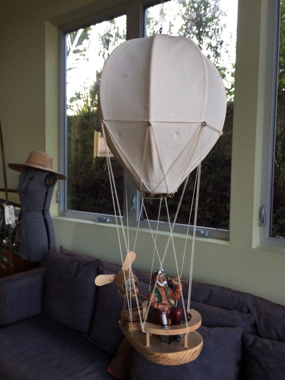 Vintage Wooden Hot Air Balloon Man Motorized Toy Model On
