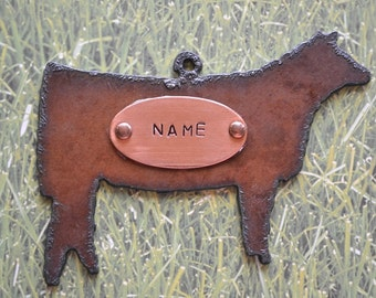 Rustic Rusty Rusted Recycled Metal Custom Personalized FFA SHOW HEIFER Ornament or Magnet