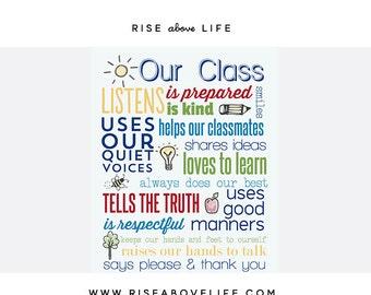 Class Rules Print 8X10 Teacher Gift