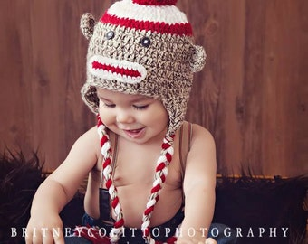 Sock Monkey Hat - Crochet Hat - Gender Neutral Hat - Photo Prop