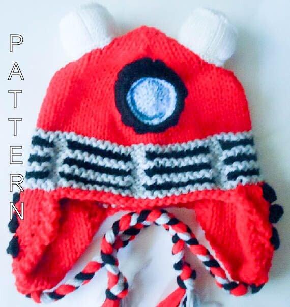 Free Baby Blanket Knitting Patterns Chunky Yarn : Knitting Pattern Robot hat Dalek Hat dr who by WistfullyWoolen