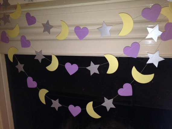 moon and stars and hearts garland nursery decoration baby shower decor