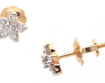 14K Yellow Gold Flower Baby Earrings Screw Back 0.20 Ct Round Diamonds G VS