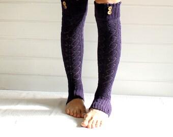 Legwarmers in PURPLE with buttons, leg warmers, diamond pattern, button leg warmers, legging, yoga, winter fashion, christmas gift