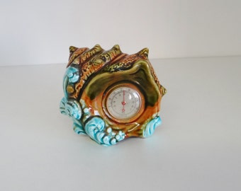 Vintage Majolica Style Shell Shape 1950s Souvenir Thermostat European Spanish Kitsch