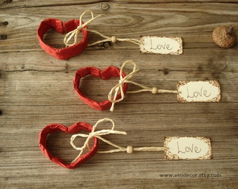 Wedding Place Card Holders- Set of 10, Heart Place Card Holder, Valentine Wedding Favors, Red Heart Place Card Favors, Wedding Guest Favors
