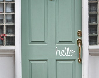 Hello front door vinyl sticker decal - trendy hello. available in multiple sizes and colors.