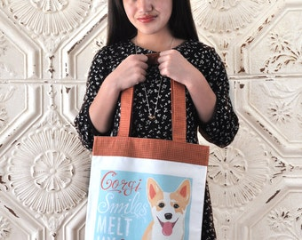 Corgi Pup Art Tote Bag- Corgi Smiles Melt My Heart
