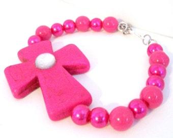 Hot Pink Bracelet With Chunky Cross Sideways Cross Bracelet Christian Jewelry Christian Bracelet