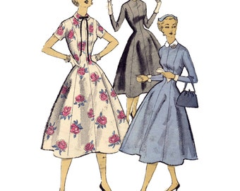 1950s Princess Dress Pattern, Bust 32, Zipper Back, Fitted Waist, Flared to Hemline, Vintage Sewing Pattern Advance 6729