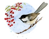 Special Edition; Black Capped Chickadee Winter Holiday Print No. 1