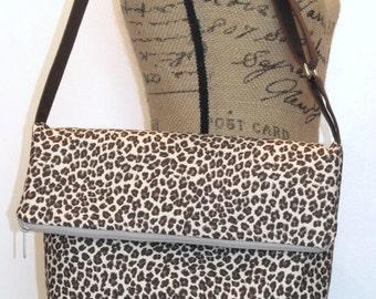 Crossbody Fold Over Bag / Shoulder Bag / Cross body Bag / Cross bodyTote Bag /  Cross body Purse / Handbag / Satchel /Brown Leopard Print