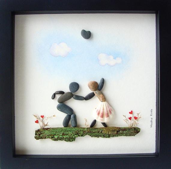 Wedding Art Gifts: Pebble Art Wedding Gift Unique Engagement Gift Wedding