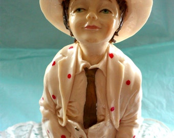 Rare Vintage Figurine Capodimonte Florence Young Man with a Hat