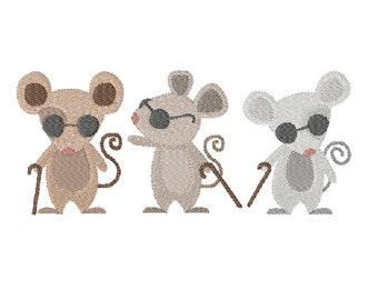 See How they Run! - Three Blind Mice ~ Filled Machine Embroidery Design - MultiPack ~ Instant Download
