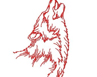 Howling Wolf - Redwork - Machine Embroidery Design in 3 sizes - INSTANT DOWNLOAD