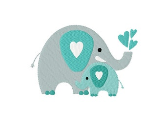 Mother's Love ~ ELEPHANTS - Mother and Baby ~ Machine Embroidery Design in 2 sizes - Instant Download