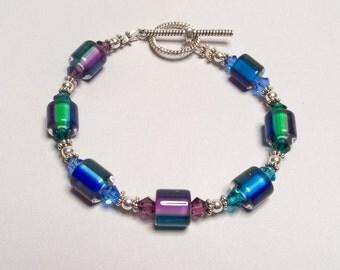Purple Blue Aqua Green Cane Glass Bracelet in Silver