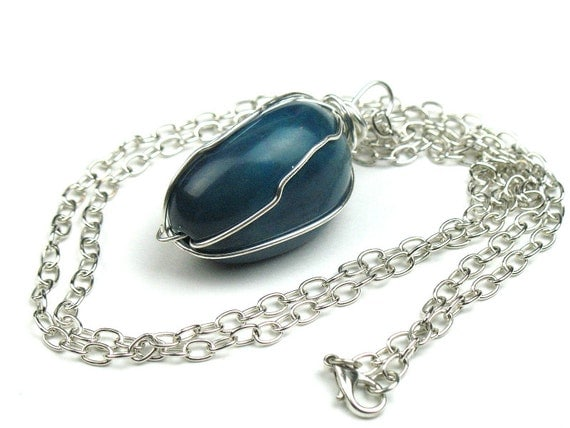 Tagua Nut Necklace in Teal with  Silver Chain and Wire Wrapped Pendant, Womens Artisan Jewelry