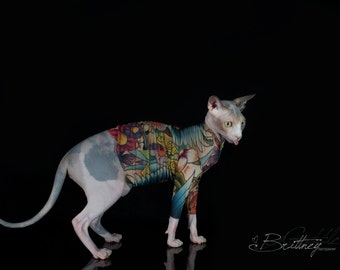 View tattcat tattoo pet tops by simplysphynx on etsy for Hairless cats with tattoos