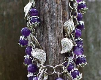 Amethyst Bracelet,Purple Bracelet,Gemstone Bracelet,February Birthstone,Amethyst,Bracelet,Silver Bracelet,Purple,Stone,Reiki Attuned