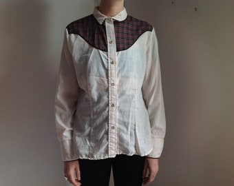 Red and Green Plaid Women's Western-wear Shirt - 38