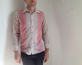 Pink Stripe Long Sleeve Button-down Men's Shirt - Medium