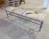 Reclaimed Burlap Coffee Sack Bench on thick wooden Plank w/ Black Iron Pipe Base