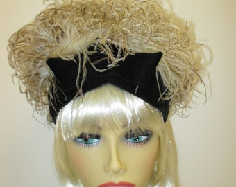 Jacques Heim 1960's feather hat, Ostrich feather hat, Mad Men hat, Midcentury designer hat