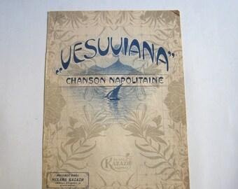 antique Greek score colour lithograph, Vesuviana, chanson Napolitaine