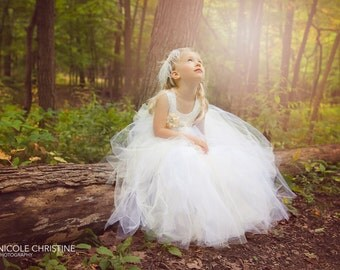 Lace & Tulle Tutu Floor Length Flower Girl Dress - A Toddler or Child Dress, Pageant, Baptism  - The Nicole-Christine Dress