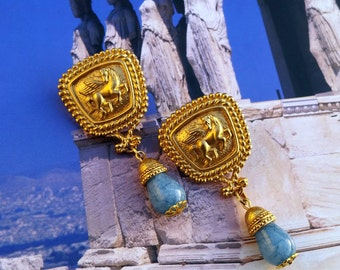 Stallion Divine- Vintage Pegasus Post Earrings w/ Gemstone Teardrops