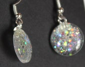 Silver holographic glitter earrings glitter nail polish jewelry dangle sparkly fishhook style silver plated