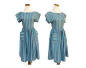 Pastel Striped Sundress // 60s Day Dress // Candy Stripe Dress // Pastel Rainbow Dress // 80s Sundress // Indie Kawaii Sundress / Size Small