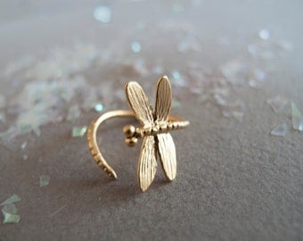 Gold Dragonfly Ring - Adjustable ring - Gift for her