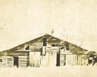 Barn Photography, sepia barn, long low barn, wood barn, monochromatic, parchment, landscape, rustic, Country Home Decor, Fine Art Print