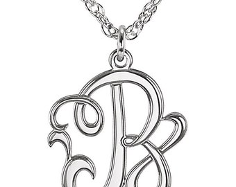 14kt White Gold 15mm Single Initial Letter Script Monogram Necklace ~ FREE SHIPPING ~ Great Gift