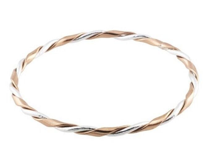 Handmade Handcrafted Designer Sterling Silver and Copper Wire Twist Bangle Bracelet