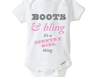 Boots & Bling Funny Baby Onesie