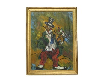Clown Painting. French Oil Painting in Gold Frame. Mid Century Art. Circus Art . Clown with Flower Painting. Nursery Art. Kids Room Art.