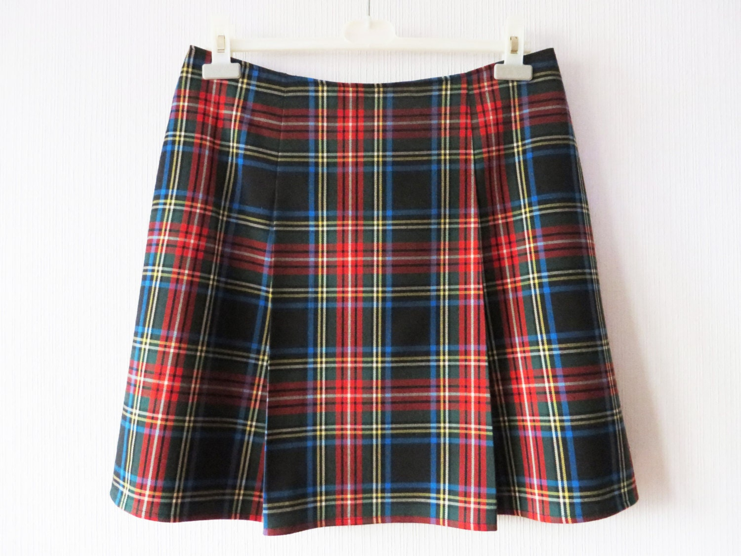tartan plaid mini skirt green pleated checkered size large