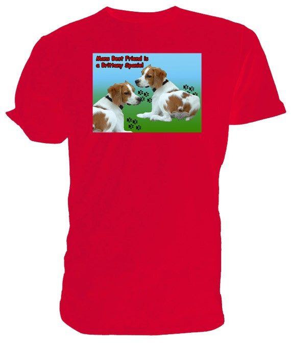 Brittany Spaniel T shirt. classic round neck short sleeved choice of sizes and colours, My Best Friend