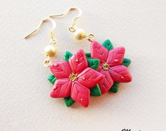 Poinsettia Christmas Earrings - Handmade in Polymer Clay