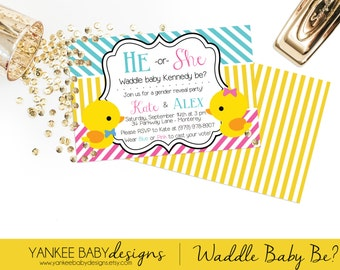 Waddle It Be? - Duck Gender Reveal Party Invitation