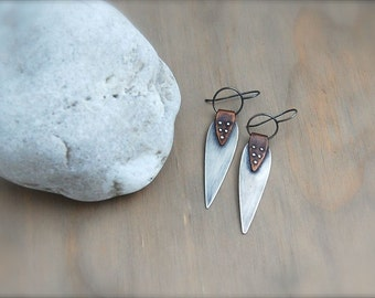 Riveted Sterling Silver Teardrop Earrings - Mixed Metal Earrings - Copper and Silver