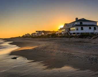 Sunset over beachfront homes at Edisto Beach, South Carolina - Photography Fine Art Print or Wrapped Canvas