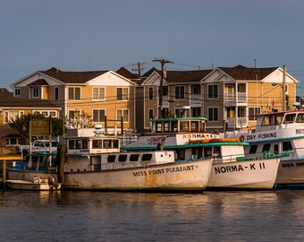 Boats and houses along the Manasquan Inlet in Point Pleasant Beach, New Jersey - Nature Photography Fine Art Print or Wrapped Canvas