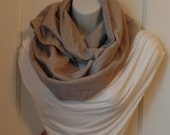 FIP01 02: Fabric Infinity Scarf (Gray Zig Zag Plaid, Flannel) FREE SHIPPING