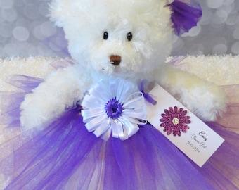 "Flower Girl Gift, Personalized Flower Girl Princess Tutu Teddy Bear in Custom Colors, Junior Bridesmaid gift, Wedding Keepsake, 12"" Bear"
