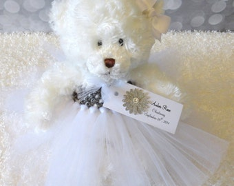 Personalized Christening Baptism Gift, Princess Tutu Teddy Bear, Choose Your Tutu Colors, Baby Keepsake
